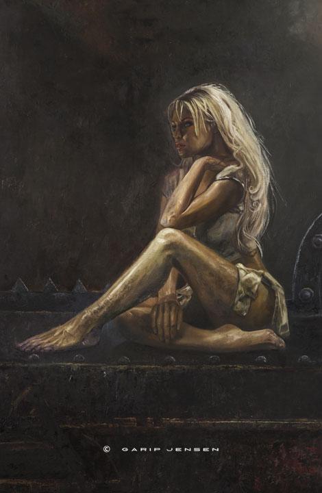 Länk till oljemålningen på Amina, skapad av Garip Jensen