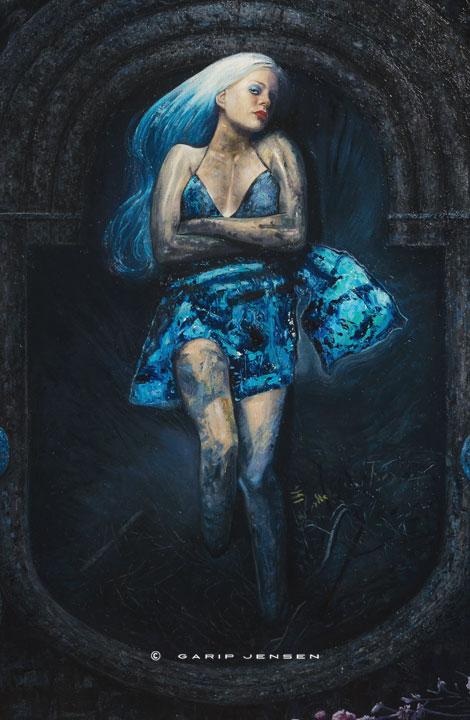 Natalie in blue - länk till oljemålningen, skapad av Garip Jensen